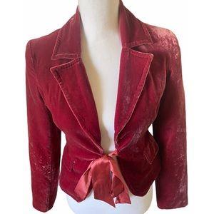 Pink Velvet blazer with a satin ribbon front tie